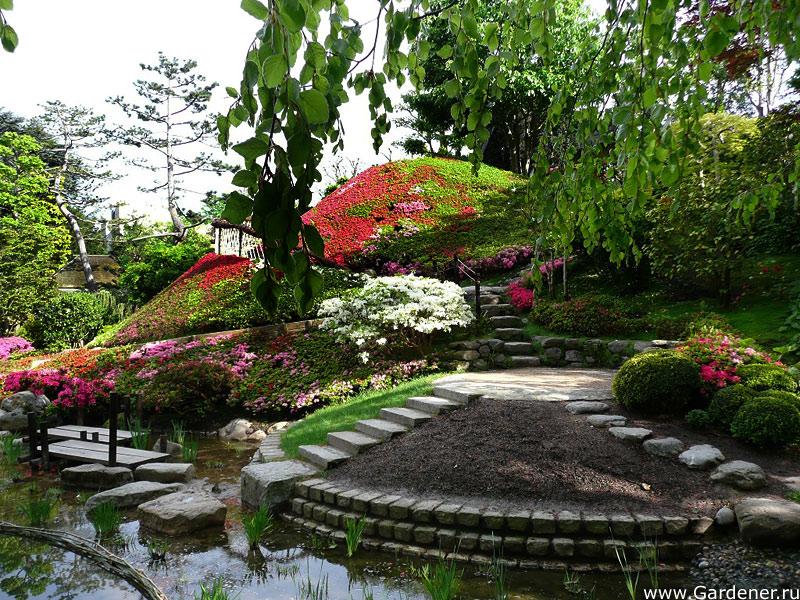 Японской деревни расположен сад